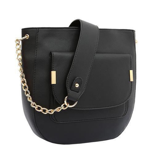 Jovie Front Pocket Shoulder Bag Black Handbag