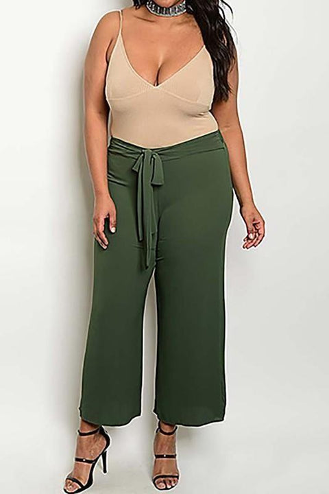 Waist Bow Detail Plus Size Pant Plus Bottoms