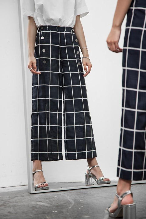 Suzy Button Down Plaid Wide-Leg Pants Bottoms