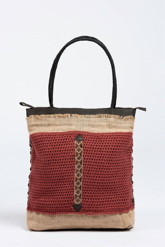 Coachella Calls Out Indian Summer Crochet & Leather Tote Tote