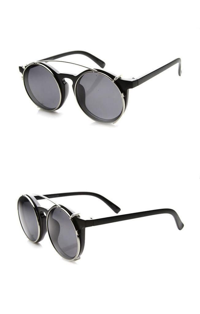 Vintage Inspired Horn Rimmed Crossbar Clip-On Round Sunglasses Sunglasses