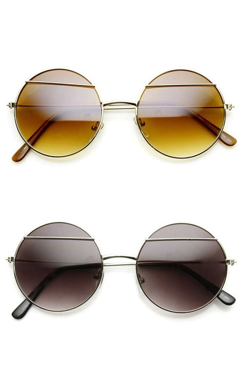 Womens Fashion Eyelid Lennon Style Metal Round Sunglasses Sunglasses
