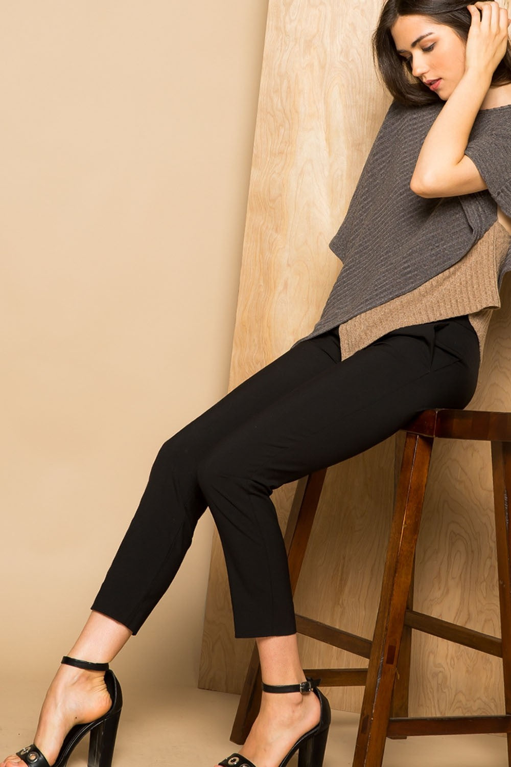 THML-Asymmetrical Colorblock Sweater Top