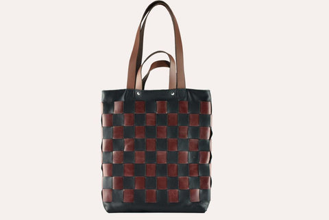 Genuine Cowhide Leather Checkered Tote Tote