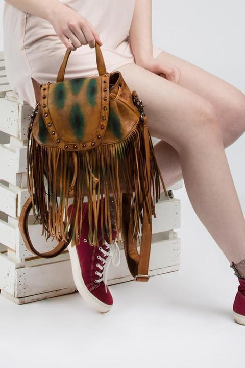 Genuine Leather Fringe Backpack Back Pack
