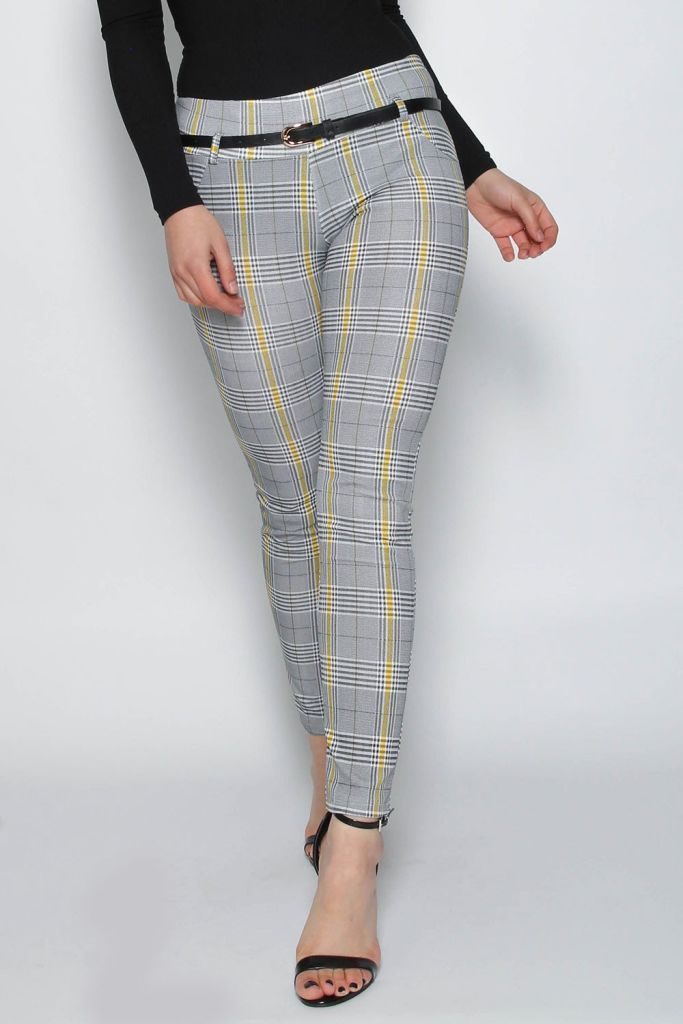 Missi London Check Trousers With Belt Bottoms