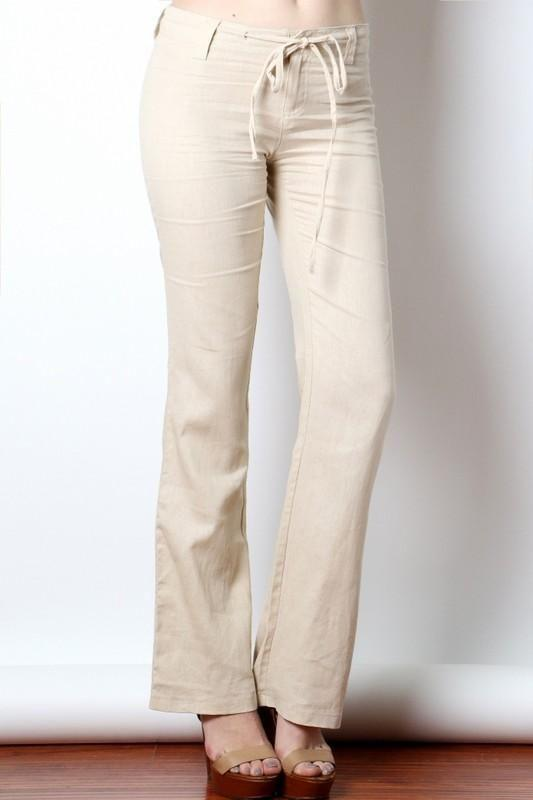 Womens Drawstring Linen Pants