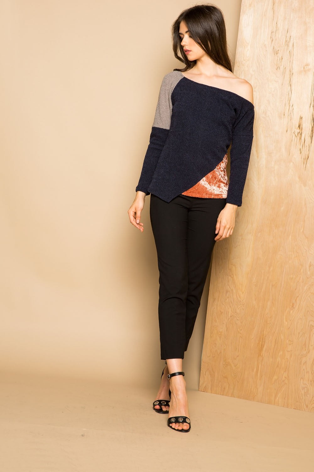 THML-Asymmetrical Colorblock  Mixed Media Sweater Top