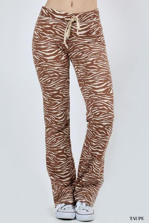 Zebra Printed Fleece Pants Pants