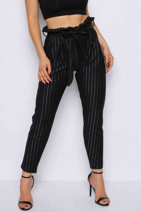 Missi London Stripe Cigarette Trousers