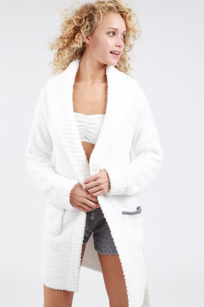 Pol Berber Fleece Robe With Striped Pockets Cardigan