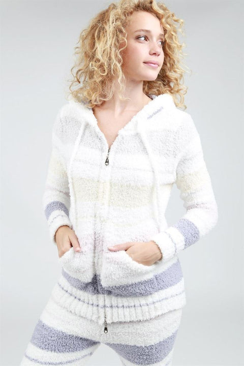 Pol Striped Berber Fleece Cozy Hoodie Tank Top