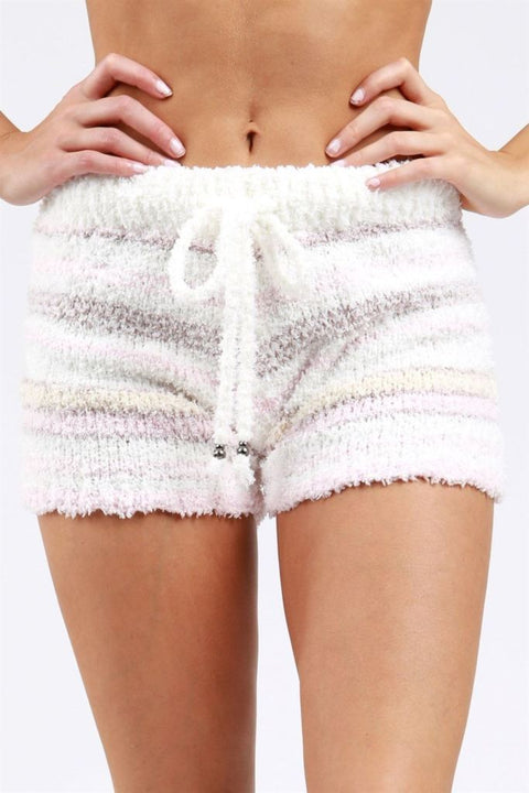 Pol Striped Berber Fleece Cozy Shorts Shorts