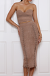 REVEAL MIDI SKIRT - ROSE GOLD
