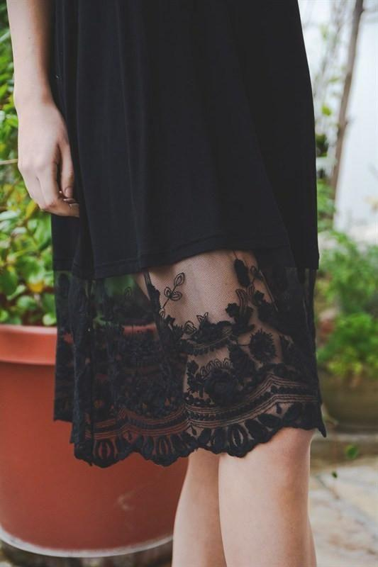T-Back Midi Lace Slip S / Black Slip