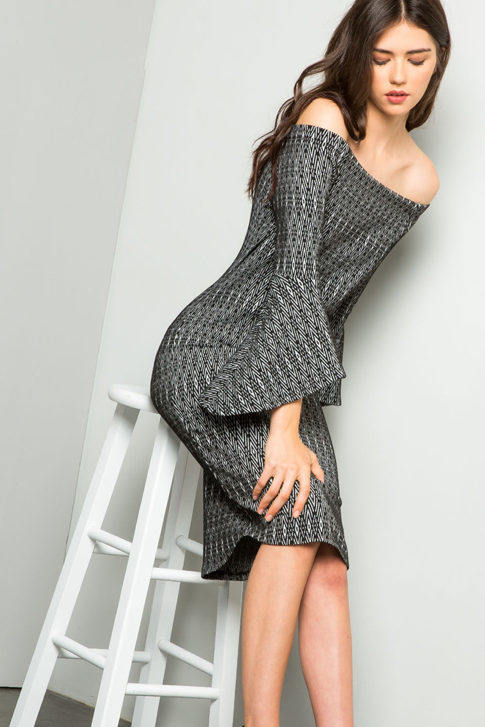 THML-Off-shoulder Bell Sleeve Dress
