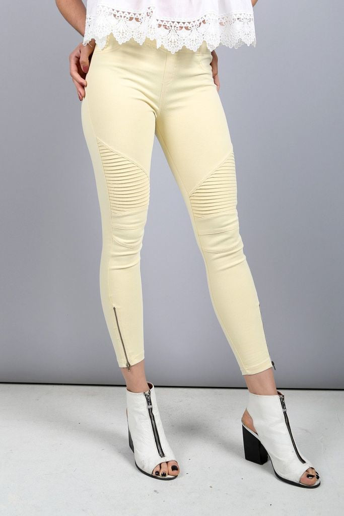 Yellow Beulah Spring Skinny Joggers Bottoms