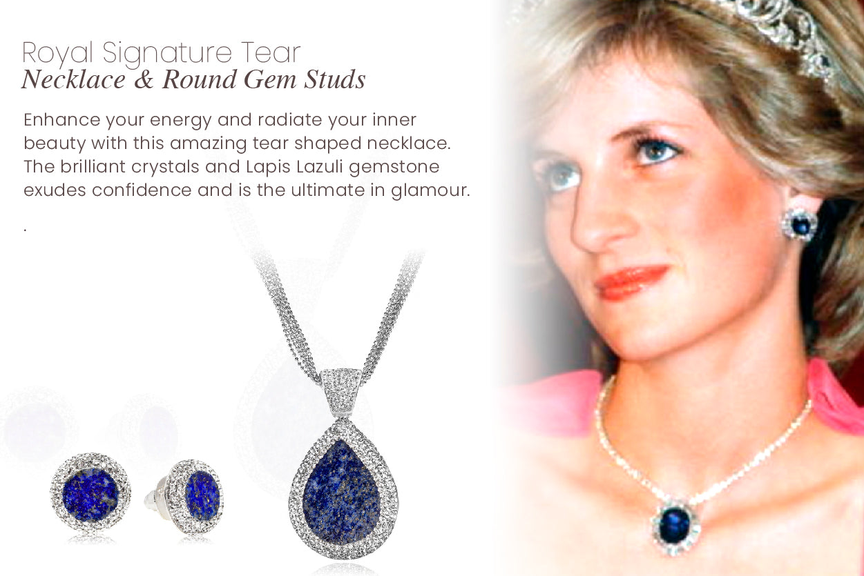Enhance your energy and radiate your inner beauty with this amazing tear shaped necklace. The brilliant crystal and gemstone side is simply glamorous.