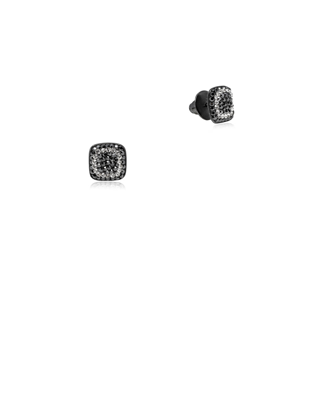 Crystal Square Studs Hematite, Crystal & Black Rhodium