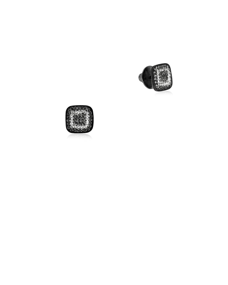 Crystal Square Studs All Black Diamond & Black Rhodium