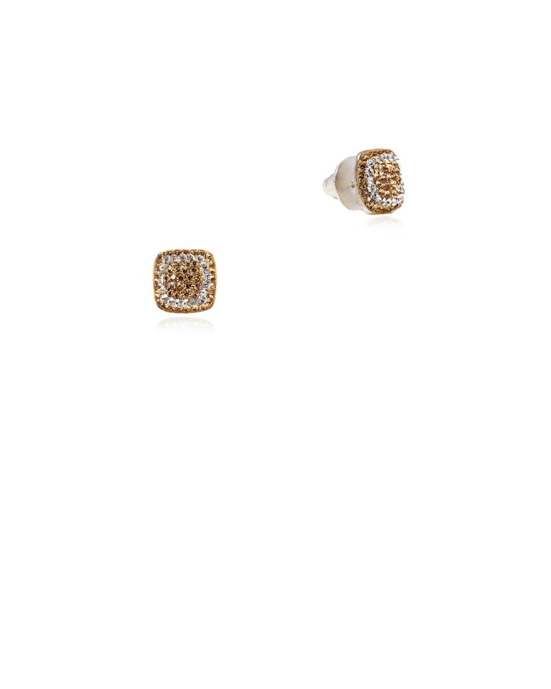 Crystal Square Studs Gold, Crystal & Gold