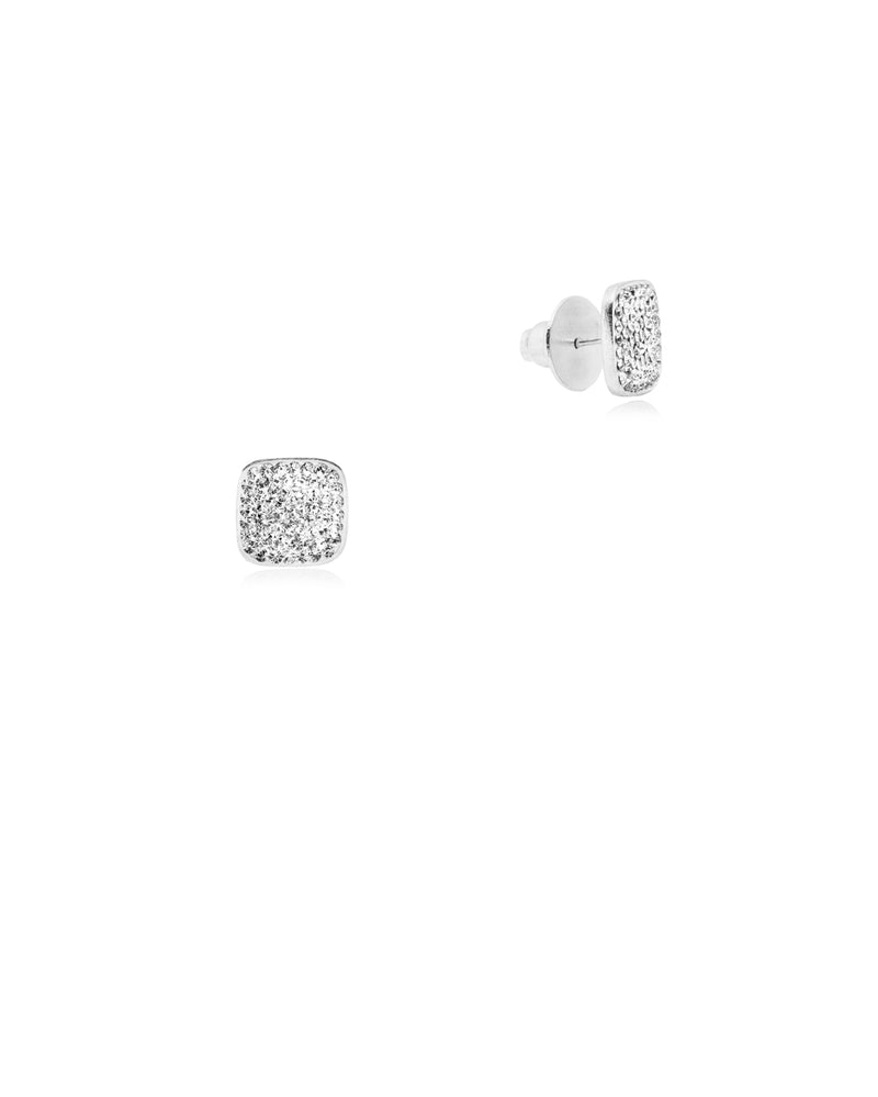 Crystal Square Studs All Crystal & Silver