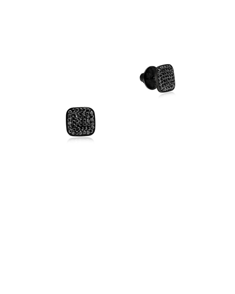 Crystal Square Studs All Hematite & Black Rhodium