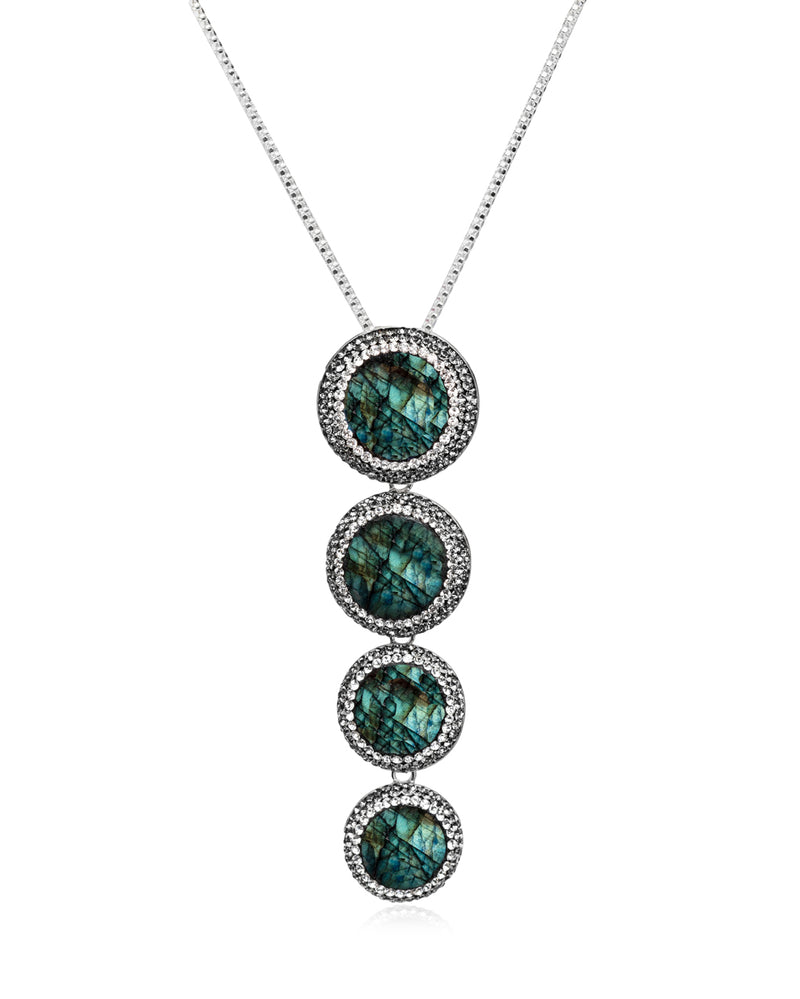 Cascade Multi Gem N Labradorite, Black Diamond & Silver