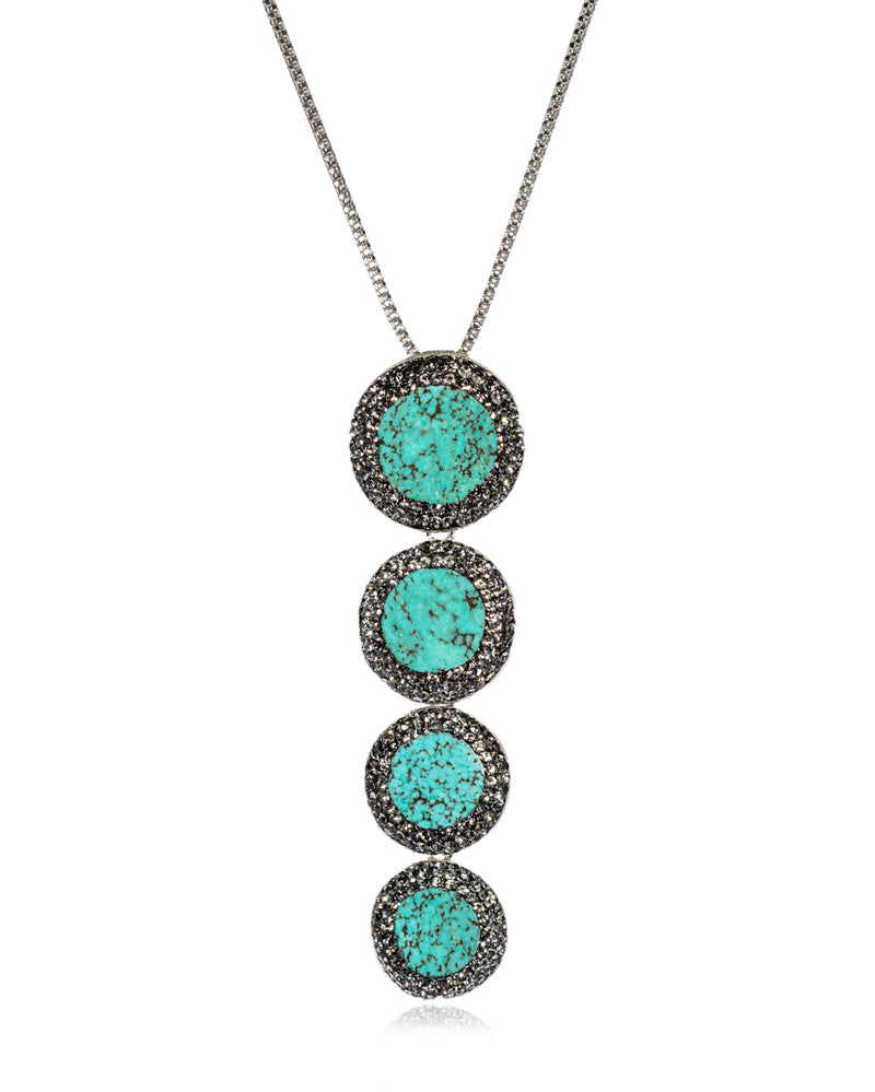 Cascade Multi Gem N Persian Turquoise, Black Diamond & Silver