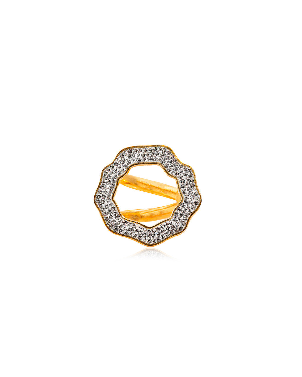 Crystal Open Round Ring Crystal & Gold