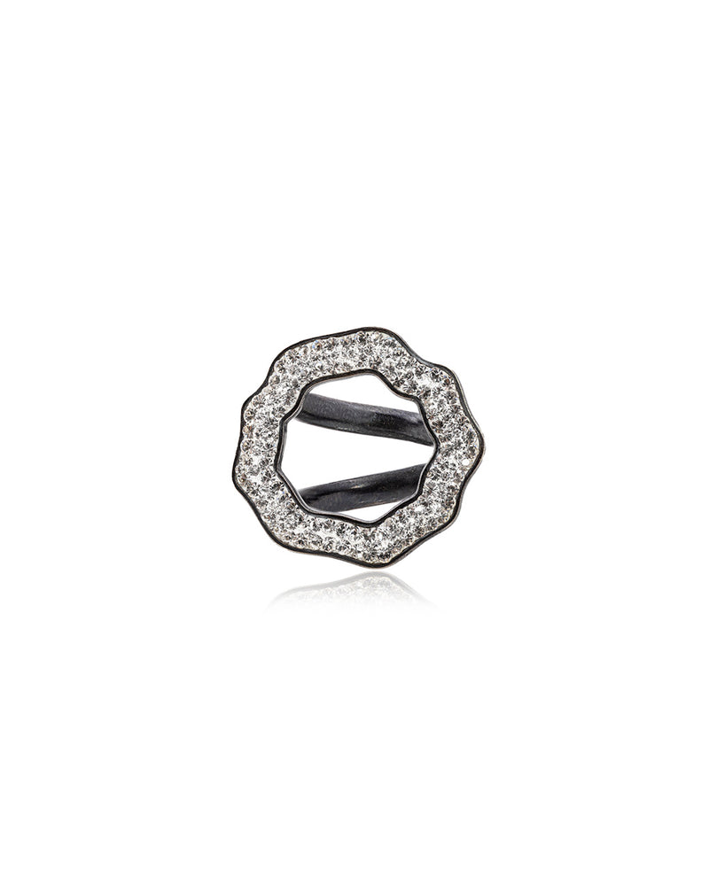 Crystal Open Round Ring Crystal & Black Rhodium