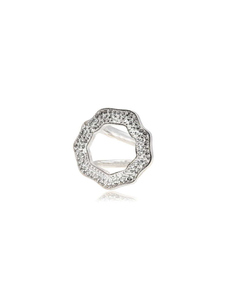 Crystal Open Round Ring Crystal & Silver