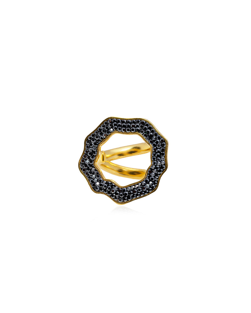 Crystal Open Round Ring Hematite & Gold