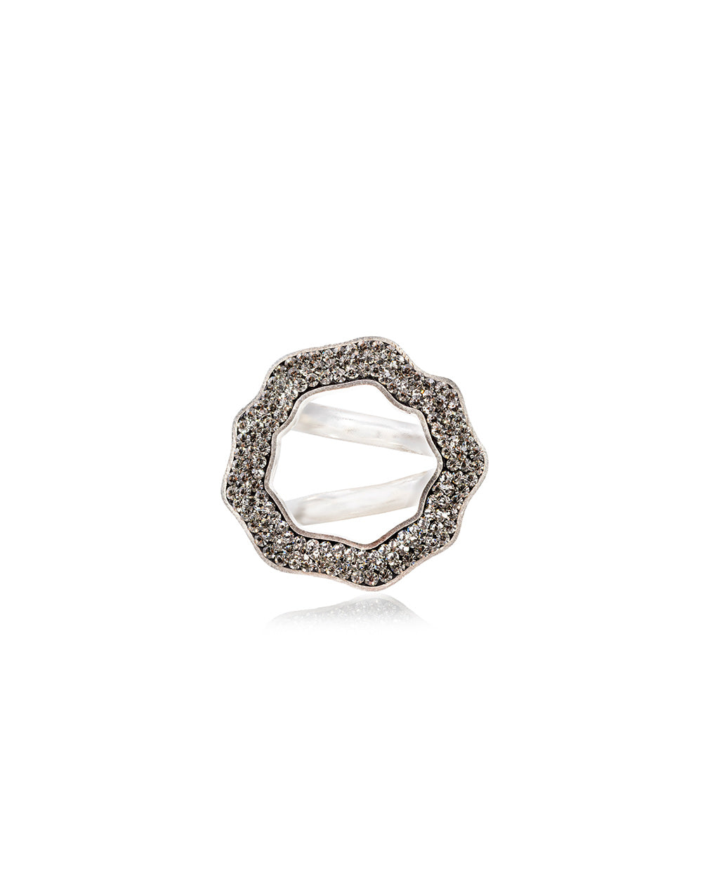 Crystal Open Round Ring Black Diamond & Silver