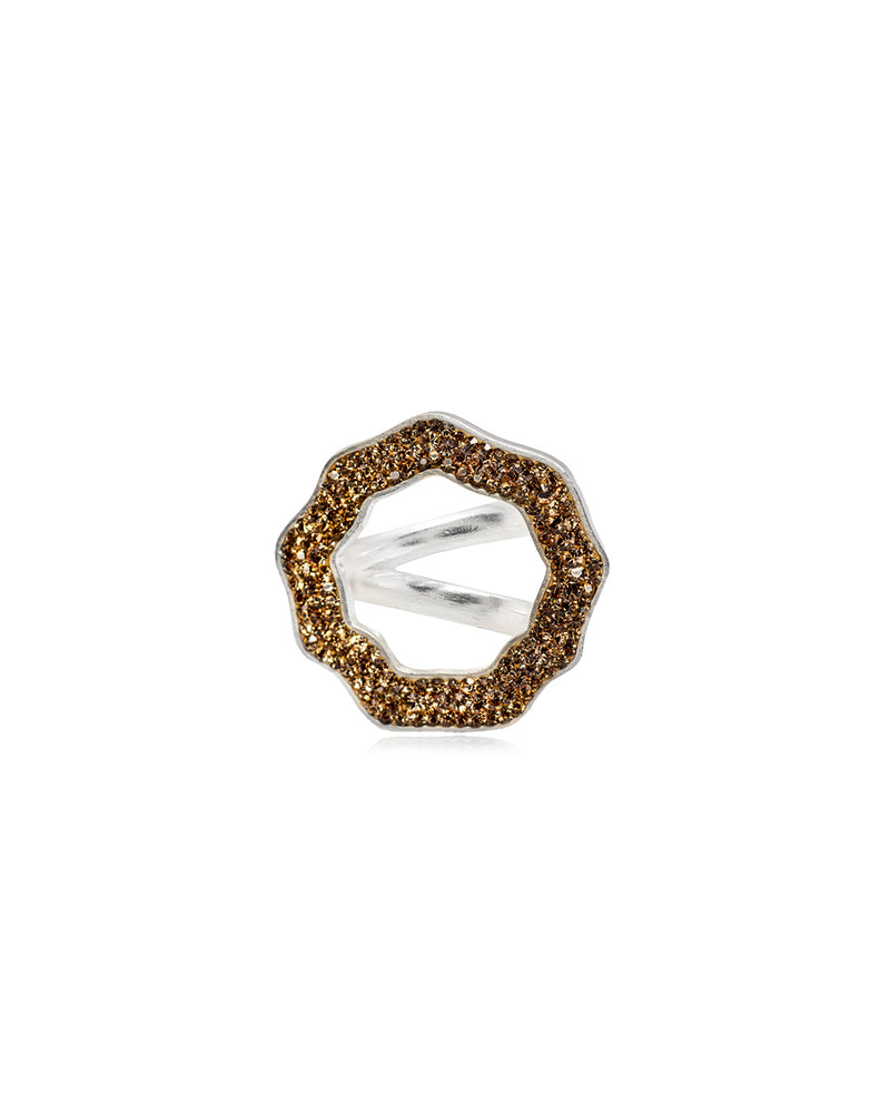 Crystal Open Round Ring Gold & Silver