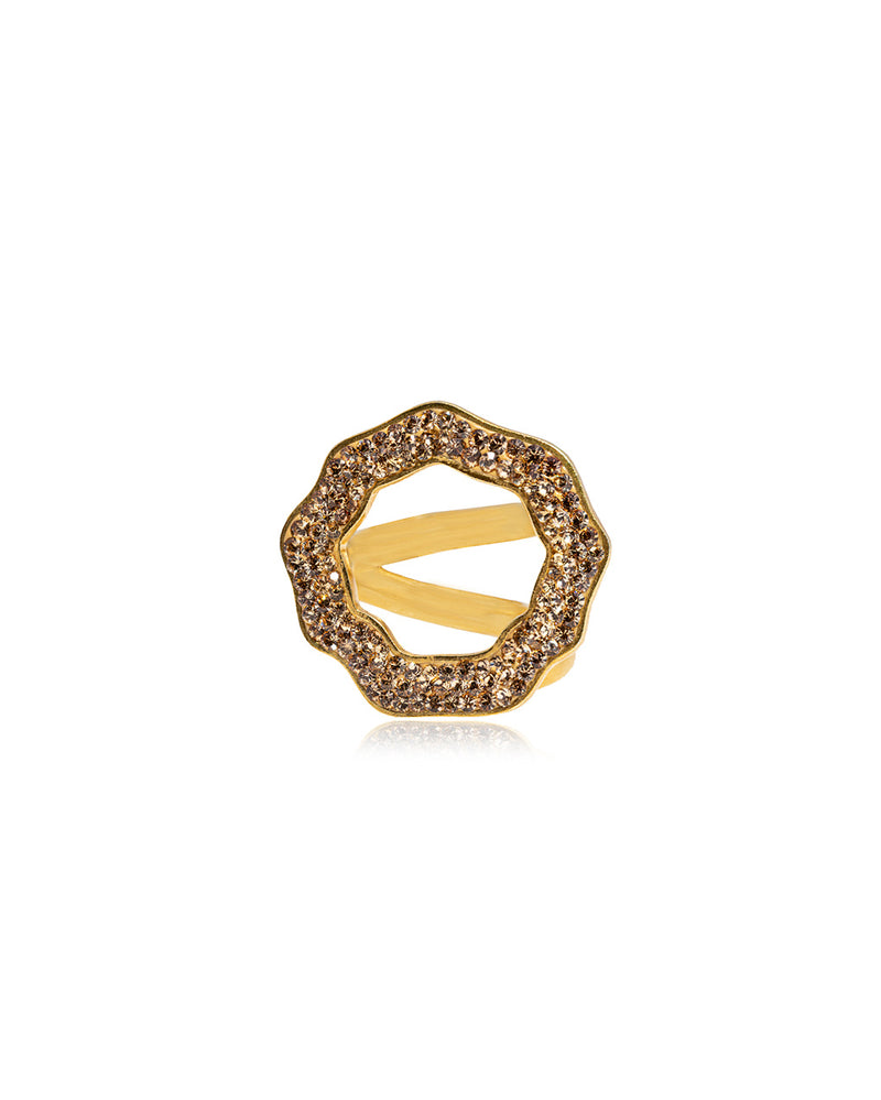 Crystal Open Round Ring Gold & Gold