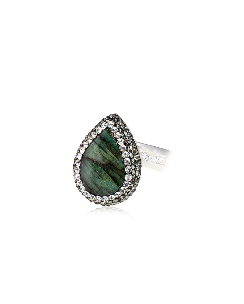 Dainty Tear Gem Signature Ring