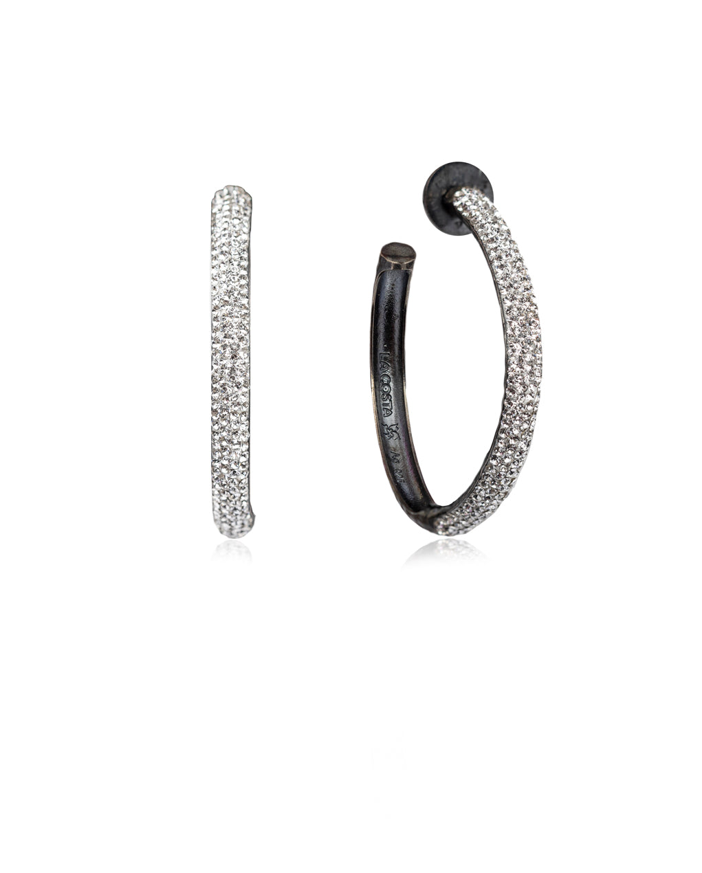 Crystal Hoops Crystal & Black Rhodium