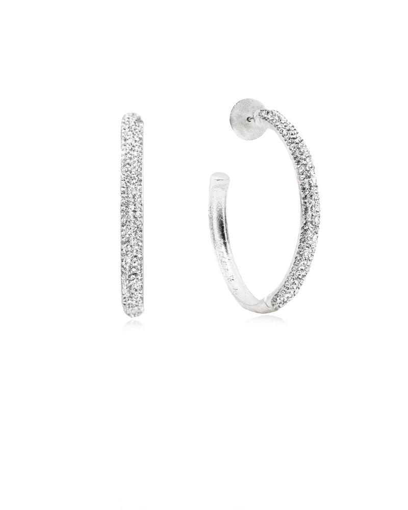 Crystal Hoops Crystal & Silver
