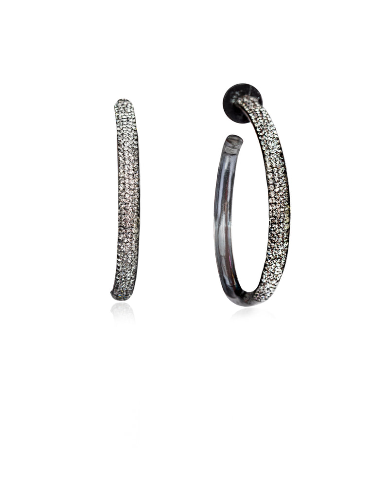 Crystal Hoops Black Diamond & Black Rhodium