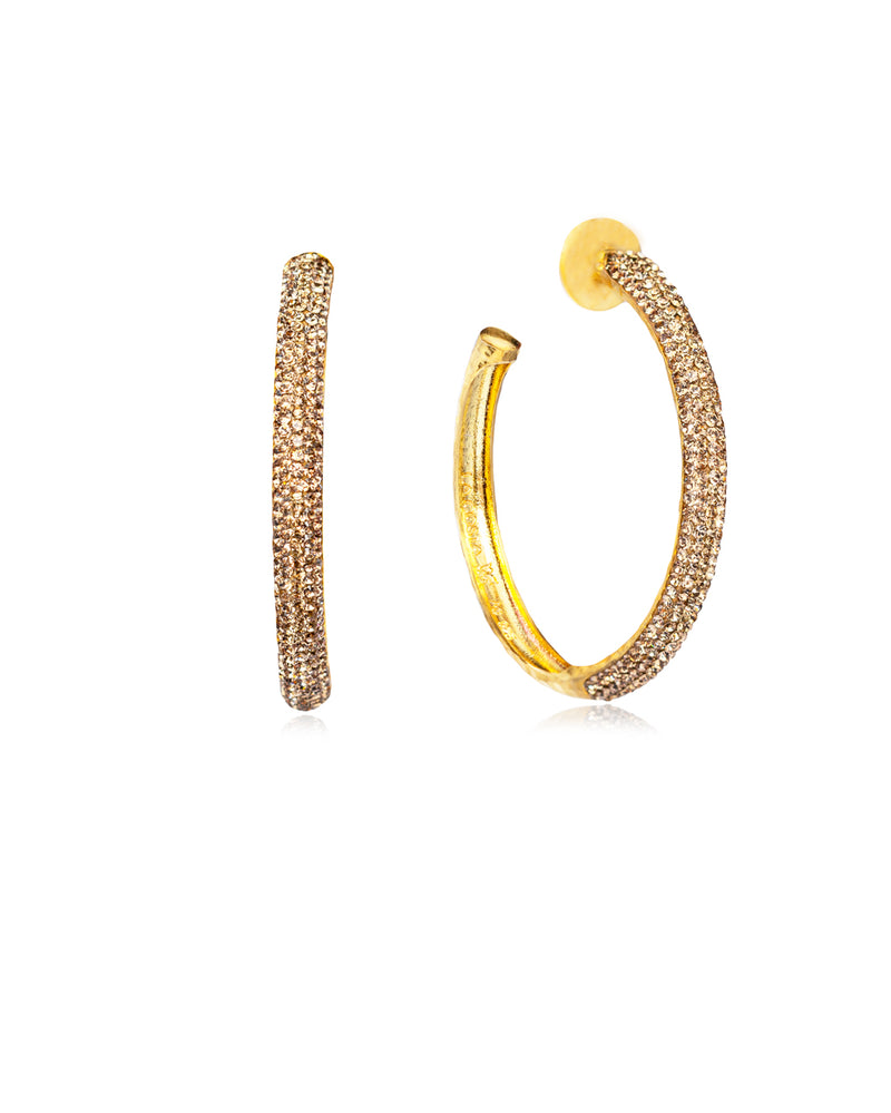 Crystal Hoops Gold & Gold