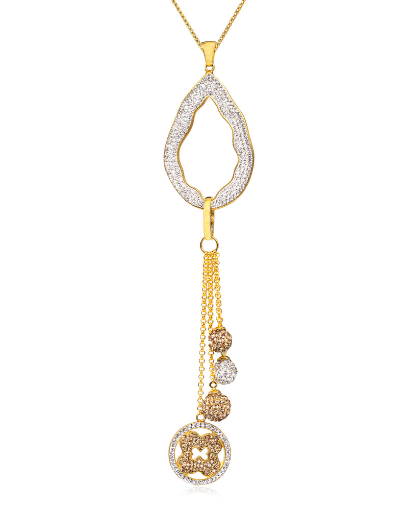 2Way Crystal Open Tear Tassel N Gold