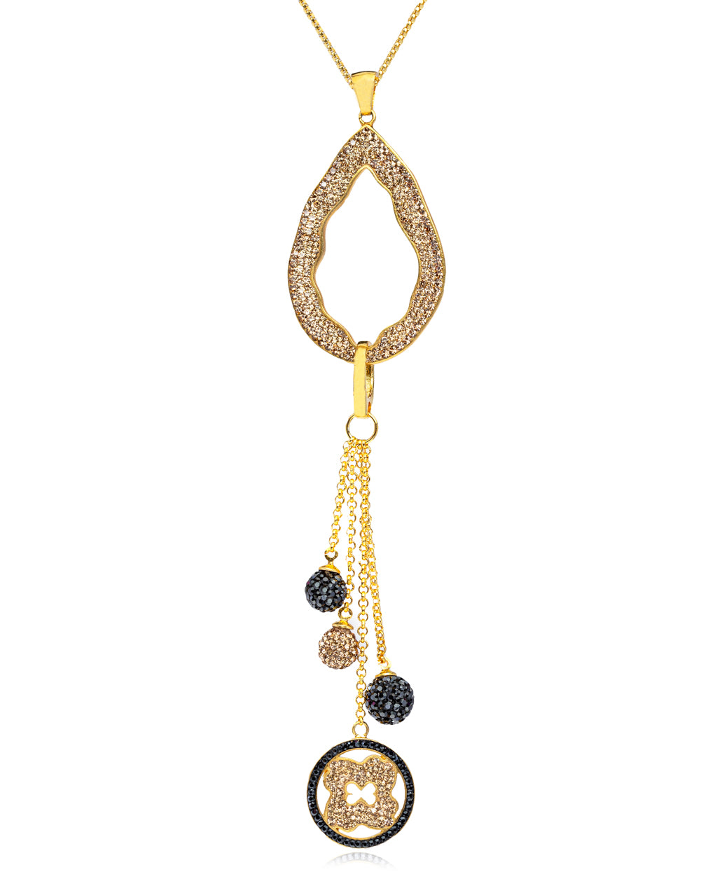 2Way Crystal Open Tear & Tassel N Gold Hematite