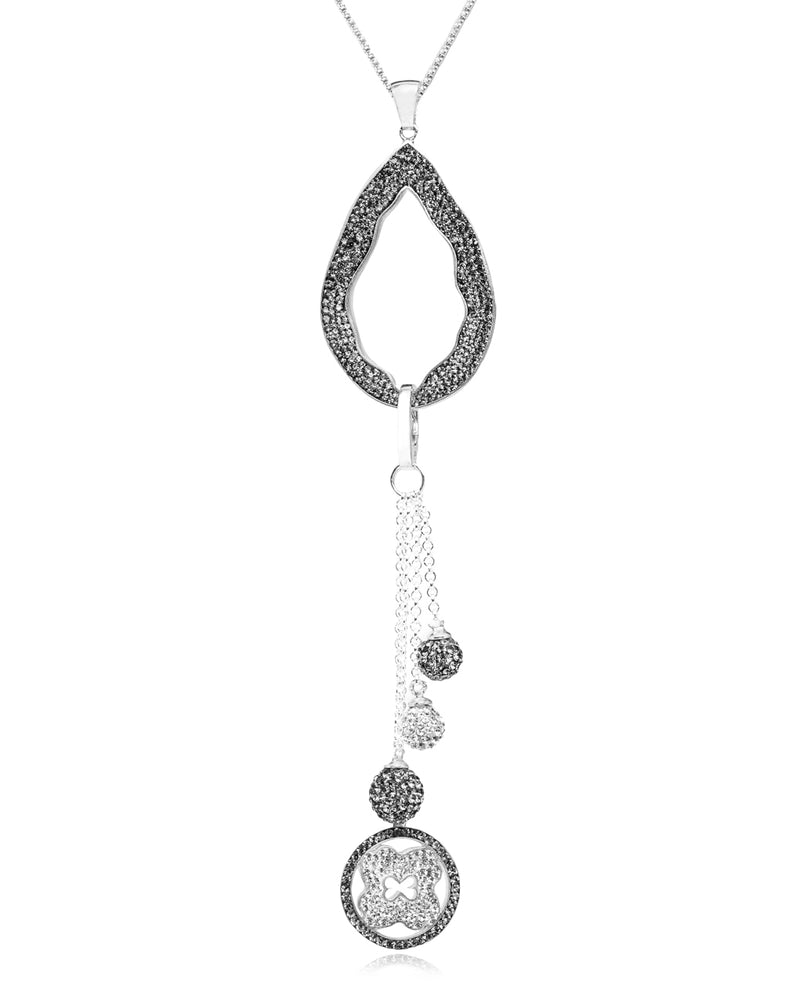 2Way Crystal Open Tear & Tassel N Black Diamond Silver