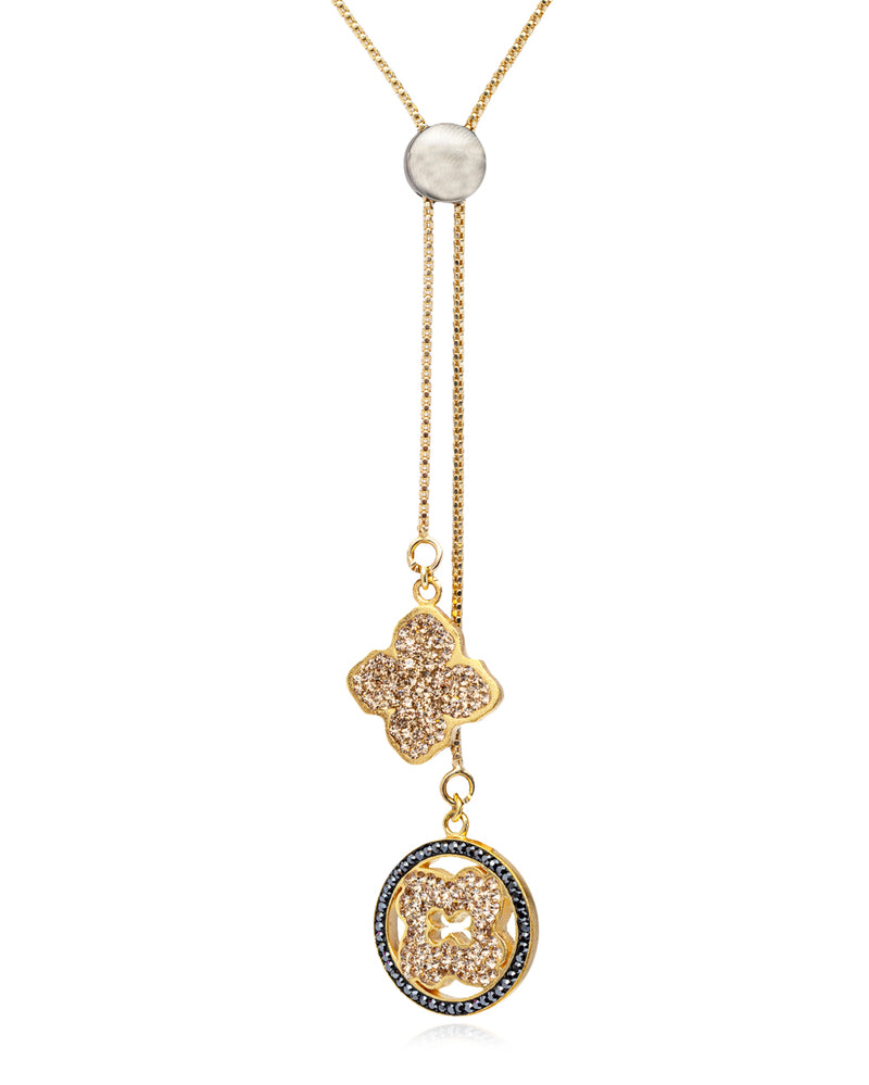 Flower Logo Lariat Necklace