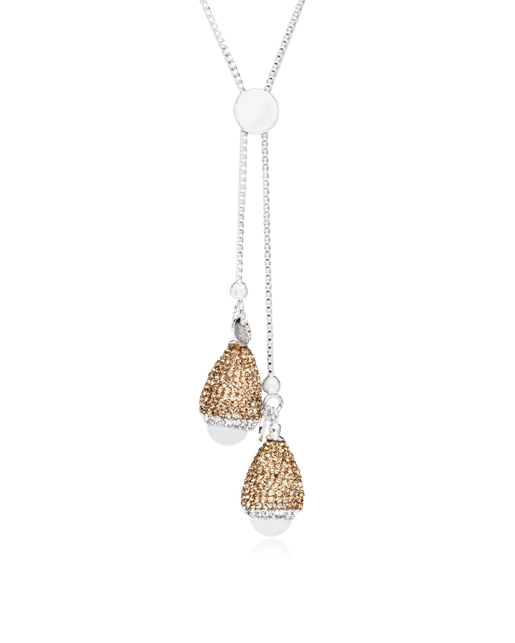 Dome Double Slide Lariat Baroque Pearl, Gold, Silver