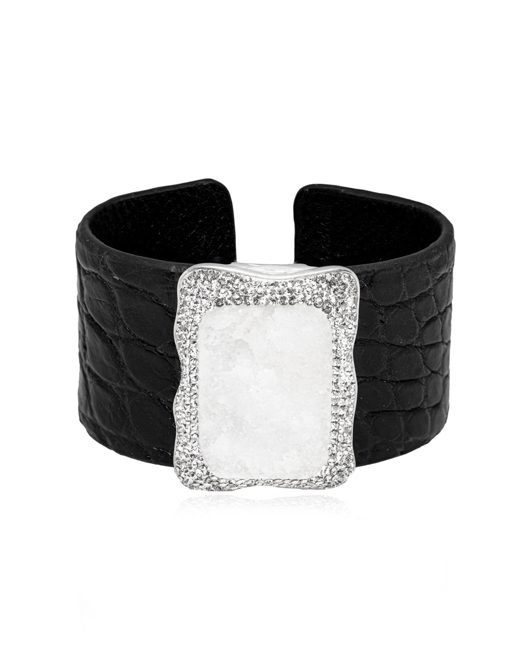 Exotic Gem Cuff White Quartz, Crystal & Black Crocodile