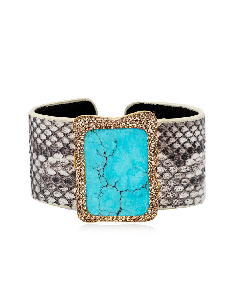 Exotic Gem Cuff Persian Turquoise, Gold & Python