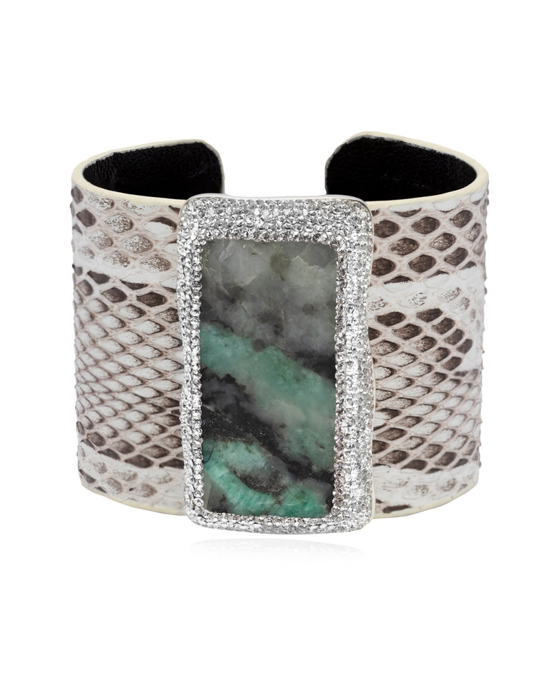 Exotic Statement Gem Cuff Emerald, Crystal & Python