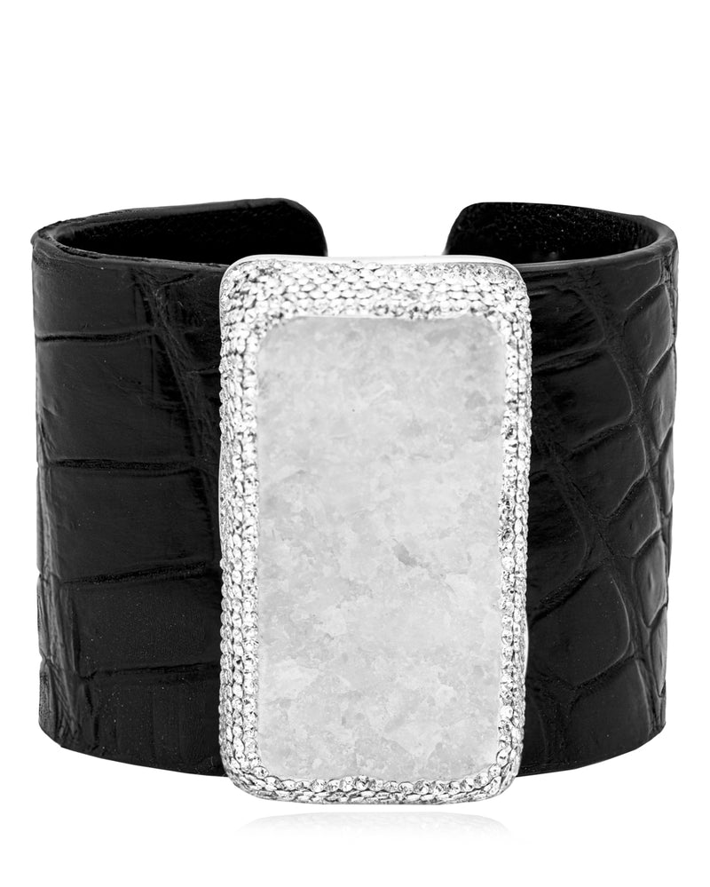 Exotic Statement Gem Cuff White Quartz, Crystal & Black Crocodile